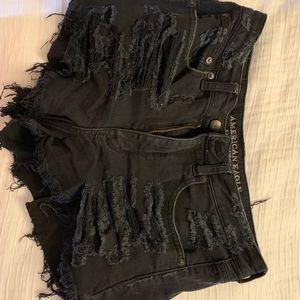 Black Denim Hi-Rise Vintage Festival Shorts